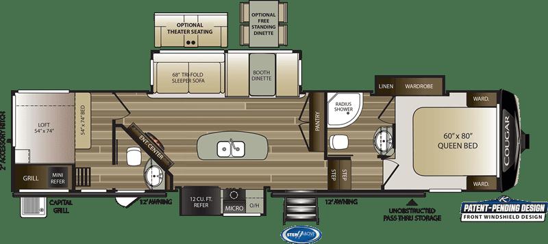 2020 Cougar 364BHL floor plan
