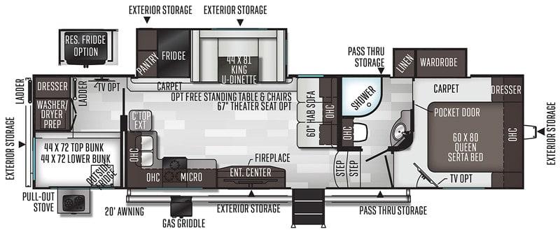 2020 Flagstaff SuperLite 529BH floor plan