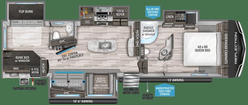 2020 Grand Design RV Reflection 311BHS floor plan